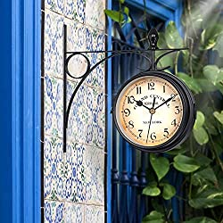 GGHKDD Retro Double-Sided Wall Clock, Double-Sided Wall Clock Station Retro Dial with Stem Fixing Pendulum for Indoor and Outdoor Home Garden Diameter 12.12cm/4.77inch