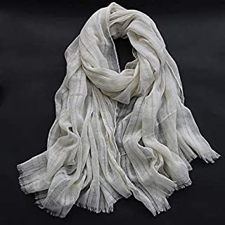 Winter Long Scarf Vintage Literary Spring and Autumn Scarf Shawl Wild Female Silk Scarf Japanese Linen Pleated Hollow Sunscreen Long Scarf (Color : Watermelon red) Winter Soft Scarf (Color : Beige)