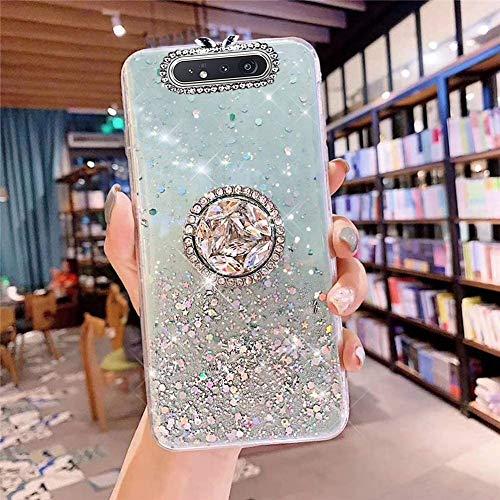 Coque pour Samsung Galaxy A80,Galaxy A90 Coque Transparent Glitter avec Support Bague,étoilé Bling Paillettes Motif Silicone Gel TPU Housse de Protection Ultra Mince Clair Souple Case,Vert