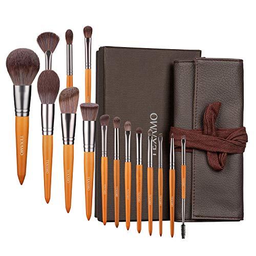 TEXAMO Professional Makeup Brush Set for Powder, Contour, Blush Highlighter, Eye Shadow, Eyebrow, Kabuki, Foundation, Concealer, Travel Leather Case, Set of 15, Wooden
