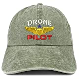 Trendy Apparel Shop Drone Pilot Aviation Wing Embroidered Cotton Adjustable Washed Cap - Olive