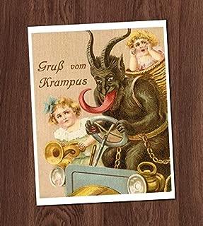 Creepy Krampus Children Vintage Card Art Print 8x10 Wall Art Christmas Monster UNframed