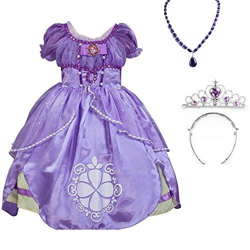 【Prin-castle】プリン-カステル 子供ドレス キッズ 子ども お姫様 ワンピース なりきり ちいさなプリンセス ソフィア ドレス、ティアラ、ネックレス3点セット かわいいドレス子供 誕生日プレゼント (130CM)