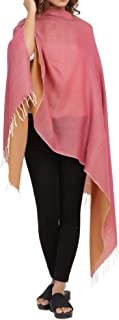Pashmina Shawls and Wraps - Reversible Plain Cashmere Wrap Scarf with Fringes