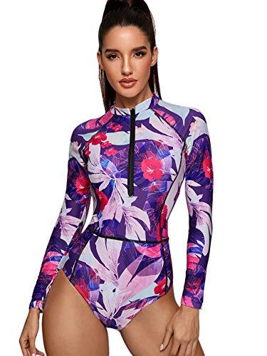 SheIn Damen-Badeanzug mit Blumenmuster, langärmelig, mit Reißverschluss vorne, Einteiler - - Large