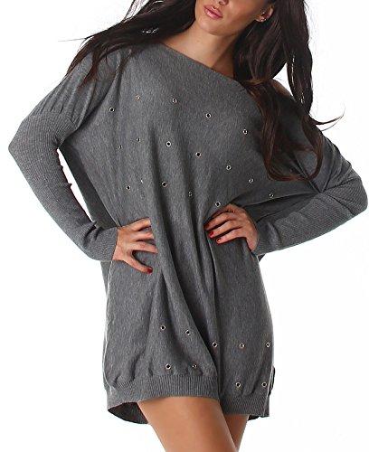 Jela London Damen Pullover Nieten Rock Wellness Oversize Schlabber-Pulli weit Feinstrick Sweatshirt Punk Loch, Grau 36 38 40
