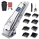 Hair Clippers for Men - Gesun Powerful Cordless Trimmer for Professional DIY Hair Cutting, Beard Grooming Kit at Home w/Low Noise, Metal Housing, LED Display, Rechargeable for Kids Women, Barber