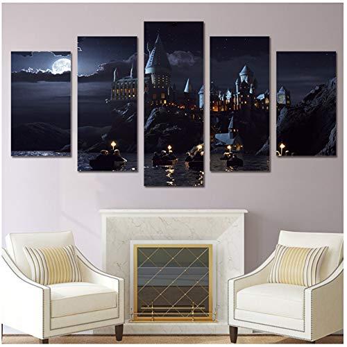 A&D HD-Druck 5 Stück Leinwand Kunst Filmplakate und Drucke Schule Hogwarts Schloss Gemälde für Wohnzimmer -40x60 40x80 40x100cm Kein Rahmen