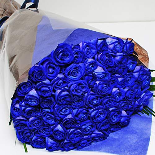 本数をお選びください 青いバラの花束 5本〜100本 神秘的なブルーローズ 奇跡の花 エーデルワイス 花工房 (60)