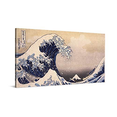 PICANOVA – Katsushika Hokusai – The Great Wave 100x50cm – Cuadro sobre Lienzo – Impresión En Lienzo Montado sobre Marco De Madera (2cm) – Disponible En Varios Tamaños – Colección Arte Clásico