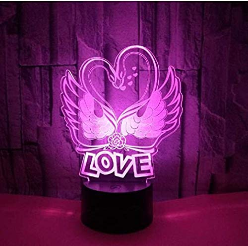 3D LED Light for Kids Romantic for Girlfriend Color Change Lamp Swan Heart Love Lamp Wedding Party Day Decor USB Birthday and Holidayfor Children