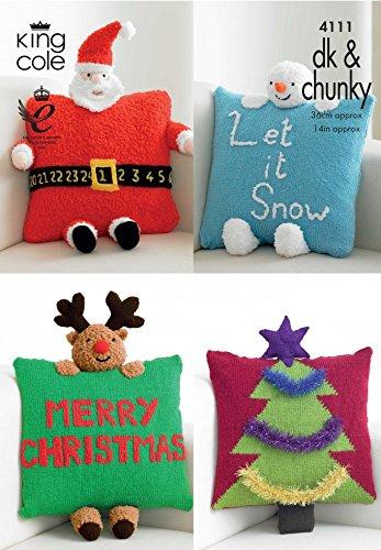 King Cole Christmas Novelty Cushions Big Value Knitting Pattern 4111 DK, Chunky