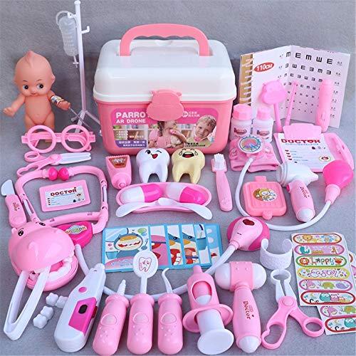 XKMY Set de médicos para niños caja de ambulancia 44 piezas/set de niñas juego de roles juego médico simulación de medicina dentista juguete de simulación (color rosa