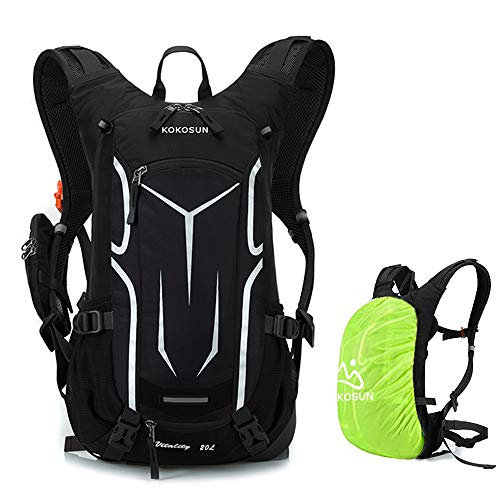 KOKOSUN Fahrradrucksack 20L Radsport Rucksack Wasserdichter Ultraleicht Multifunktionaler-mit Regenschutz/Helmabdeckung für Outdoor Sport MTB Wandern Bergsteigen (Schwarz)