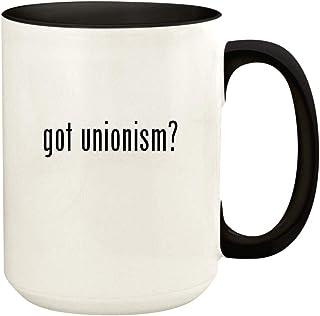 got unionism? - 15oz Ceramic Colored Handle and Inside Coffee Mug Cup, Black