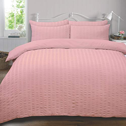 Highams Seersucker Duvet Cover with Pillow Case Bedding Set, Blush Pink - King SEERBLS03