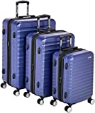 Amazon Basics - Maleta rígida «Hardside» de alta calidad, con ruedas giratorias y cerradura TSA incorporada - Juego de 3 unidades (55 cm, 68 cm, 78 cm), Azul