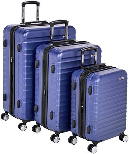 Amazon Basics - Hochwertiger Hartschalen-Trolley mit eingebautem TSA-Schloss und Laufrollen, 3-teiliges Set (55 cm, 68 cm, 78 cm), Blau