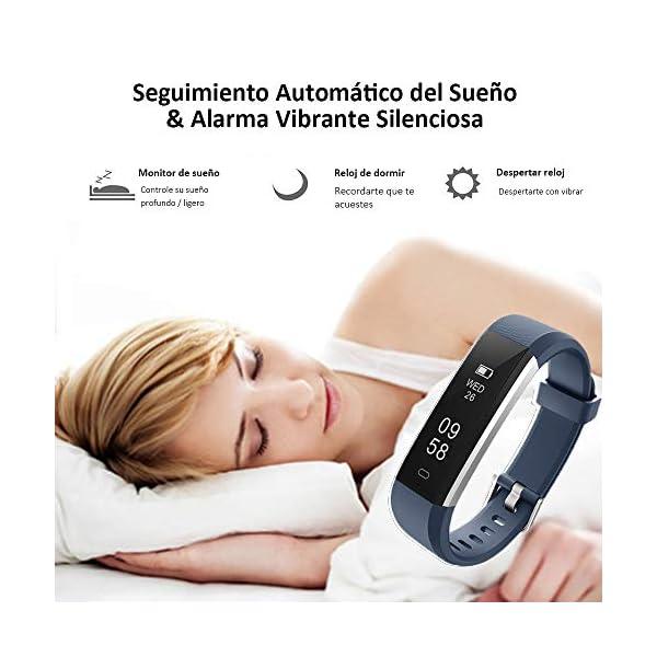 COOLEAD Pulsera Actividad Mujer Hombre Reloj Inteligente Podómetro Monitor de Actividad Impermeable IP67 Fitness Tracker… 6