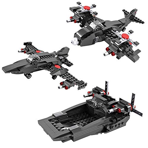 Magicwand® DIY 3-in-1 Navy Plane , Navy Fighter Jet & Navy Boat Building Blocks for Kids (231 Pcs)
