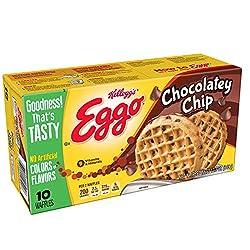 Kellogg's Eggo,Frozen Waffles, Chocolatey Chip,Easy Breakfast, 12.3 oz Box (10 Count)