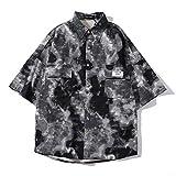 Camisa de Manga Corta con Herramientas de Camuflaje clásico Retro de Verano para Hombre Camisa Informal Holgada de Hip-Hop, con Bolsillo XXL