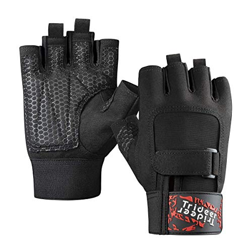 Trideer Workout Gloves, Full Palm Protection & Extra Grip,Rowing Gloves, Gym Gloves for Training, Fitness, Exercise (Men & Women)