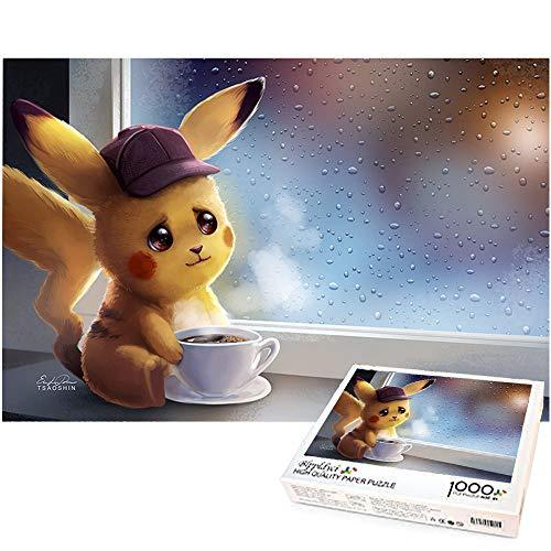 1000 Piezas Rompecabezas Juego de Rompecabezas de Navidad Pikachu Tomando café Juegos educativos para niños Rompecabezas Decoración del hogar Regalo Creativo 70x50cm-Detective Pikachu Pokemon
