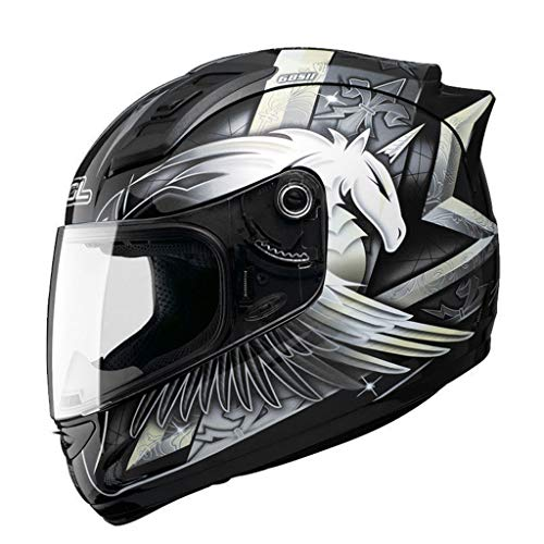 Casque moto hommes et femmes casque intégral de locomotive quatre saisons casque de course kart casque de course (Couleur : B-L57-58cm)