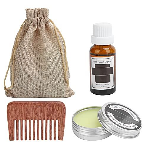 Kit de cuidado de barba, bigote, aceite de peinado nutritivo para barba, juego de peine para el cuidado del crecimiento de la barba, suaviza y alivia la picazón de la barba