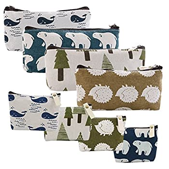 Selizo 8 Packs Canvas Pencil Pen Zipper Pouch Small Cosmetic Makeup Bags Forest and Animal Style