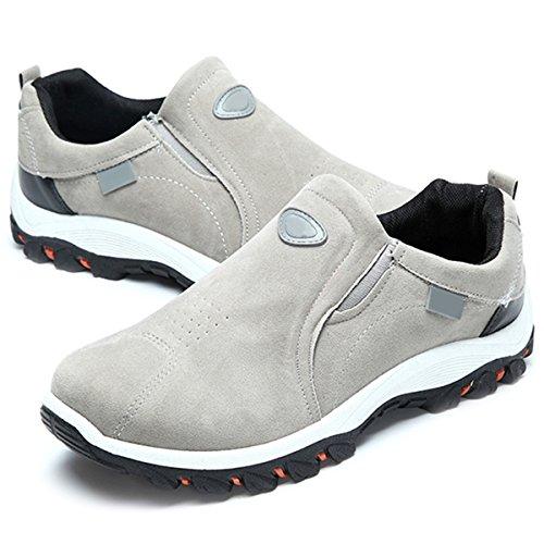 Chaussures de Sports Homme Femme, Gracosy Chaussures Randonnée Multisport Training Outdoor Sneaker Suède A Enfiler Baskets Basse - Gris - Taille 45 EU