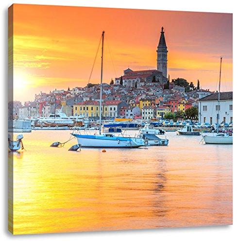 Pixxprint Kroatische Hafenstadt als Leinwandbild | Größe: 40x40 cm | Wandbild| Kunstdruck | fertig bespannt