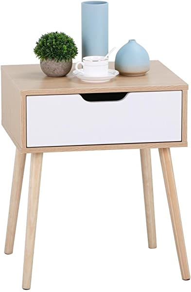 Yaheetech End Side Table Nightstand With Storage Drawer Solid Wood Legs Living Room Bedroom Furniture 22 6inH