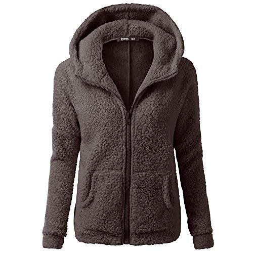 Dtuta Frauen Jacke Damen Winter Kapuzenpullover Mantel Reißverschluss Warmer Bequem Wollmantel Outwear Plus Size