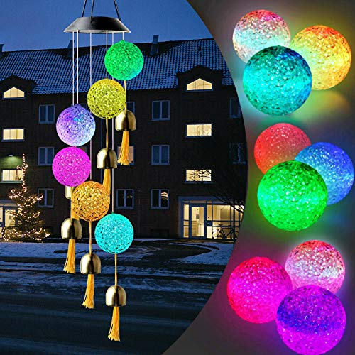Wendergo Solar Wind Chimes Lights, Outdoor Color Changing Wind Chime Mobile Hanging Crystal Ball String Light Waterproof LED Decorative Romantic Light With Bell for Gift Patio Yard Garden Decor
