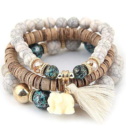 Toporchid böhmische Handgestrickte Armband Perlen Armband für Frauen, weiß