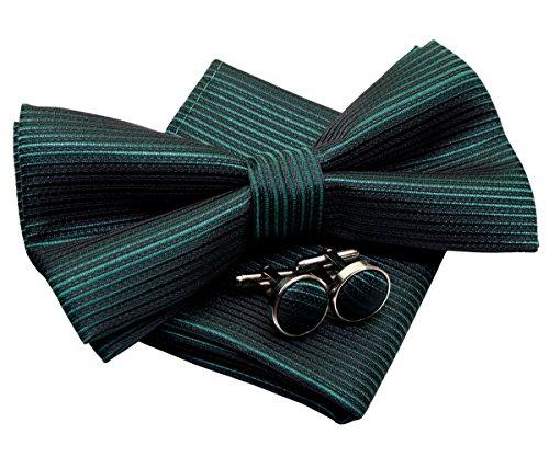 Gestreifte gewebte vorgebundene Fliege (12,7 cm) mit Einstecktuch und Manschettenknöpfen Geschenkset -  Grün -  Einheitsgröße