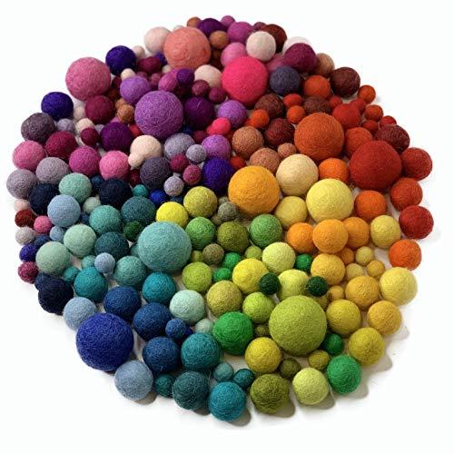 """8-Natur """"Mix Liebe"""" Bunte Mischung aus 50 Filzkugeln 1cm, 2cm und 3cm dick aus Reiner Merinowolle zum Basteln von Girlanden, Mobiles und Topuntersetzer oder einfach nur zur Deko"""