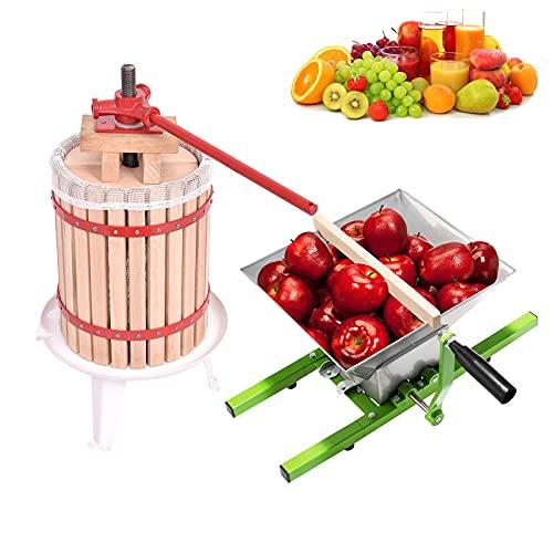 UISEBRT 7L Obstmühle Traubenmühle Apfelpresse & 18L Obstpresse Weinpresse Saftpresse Mechanisch mit Pressentuch