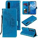 CoverKingz Handyhülle für Xiaomi Mi 10 / Mi 10 Pro - Handytasche mit Kartenfach Mi 10 / Mi 10 Pro Cover - Handy Hülle klappbar Motiv Mandala Blau