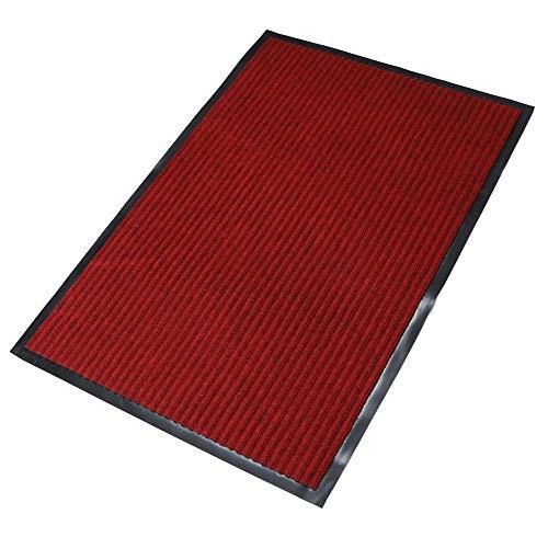 fani Heavy Duty Large Outdoor Indoor Entrance Doormat Red Waterproof Low Profile Entrance Rug Front Door Mat Patio Anti-Skid Rubber Back, 80x120cm (Red)