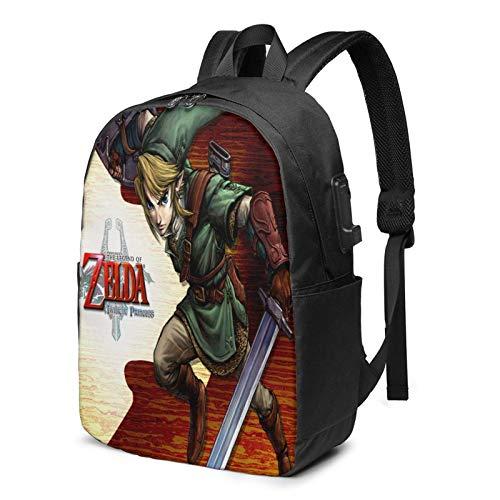 Zaino per laptop AOOEDM USB Backpack 17 in Legend-Zelda con porta di ricarica USB per cuffie, zaino per pendolari aziendali di grande capacità, borsa da viaggio per zaino da donna universitaria da 17
