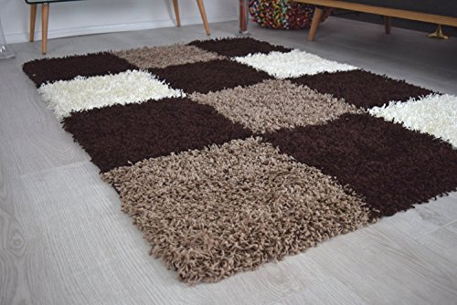 BRAVICH RugMasters Large Brown Beige and Ivory Checked Pattern Geometric Square Design Mix Super Soft High Deep Pile Luxury Shaggy Area Rug/Living Room Rug Carpet 120 x 170 cm (4' x 5'6)
