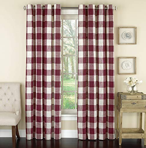 Lorraine Home Fashions 09570-84-00148 RED Courtyard Grommet Window Curtain Panel, Red, 53' X 84'