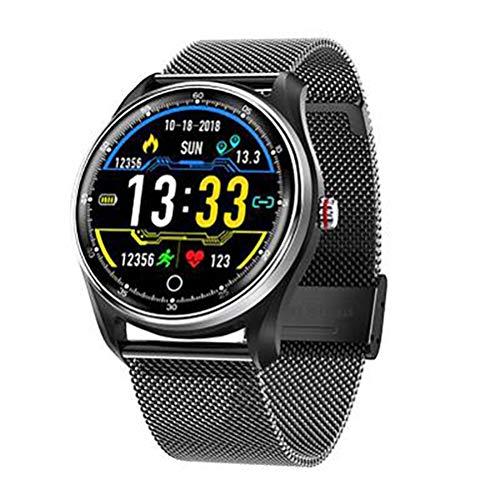 Smartwatch, IPS-Bildschirm, Bluetooth 4.0, magnetisches Laden, Gesundheitserkennung, Berechnung, Schritte, Schlafanalyse, kompatibel mit Android und iOS (Farbe: schwarz)