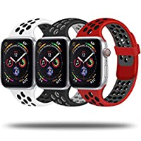 JuQBanke silicone sport bands comaptible for iWatch Series 1, Series 2, Series 3, Seies 4, Series 5, iWatch Edition, iWatch Hermès, iWatch Nike+ NOTICE: 38mm/40mm-S/M, 38mm/40mm-M/L sizes are made for 38mm and 40mm iwatch, 42mm/44mm-S/M, 42mm/44mm-M/...