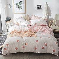 3-Piece Aojim 100% Cotton-Super Cute & Soft Kawaii Strawberry Bedding Set