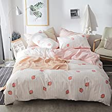 AOJIM 100% Cotton-Super Cute & Soft Kawaii Strawberry Bedding Set 3 PCS- One Queen Duvet Cover with Two Pillowcases【No Comforter】-Valuable Gift for Baby/Teen/Toddler-Girls/Women
