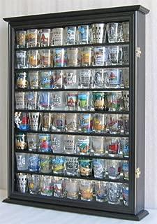 Large Shot Glass/Shooter Display Case Cabinet Rack Holder Wall Curio Cabinet, Mirror Back-Black Finish (SC13-BL)